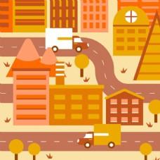 橙色城市建筑
