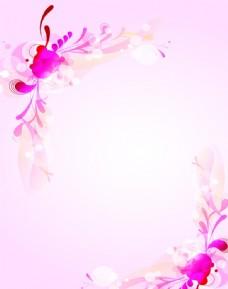 梦幻粉色背景对角花纹移门图