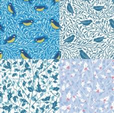 圣诞山雀与枸骨枝叶无缝图案