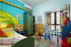 田园地中海彩色主题儿童卧室效果图