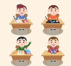 课桌前的男孩