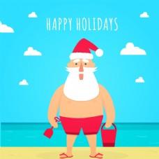 圣诞夏季海滩卡片