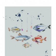 彩绘钓鱼插画水彩喷墨矢量背景