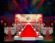 新中式婚礼舞台背景布置