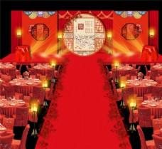 红色中式婚礼舞台设计