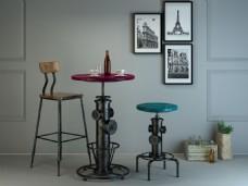 吧椅吧桌3d建模设计