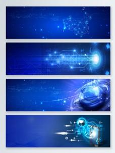 蓝色科技数据光效banner背景