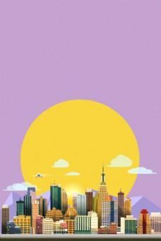 矢量时尚手绘城市特色建筑风情背景