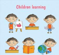 6款彩绘学习男孩矢量素材