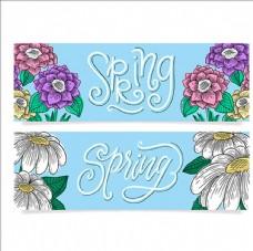 两款手绘春季横幅