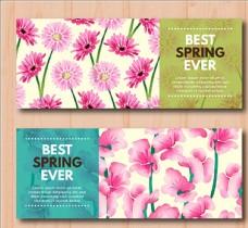 两款手绘水彩春季横幅