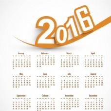 橙色新年日历