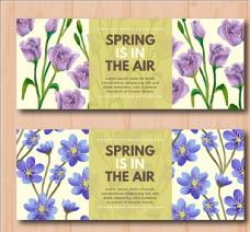 两款手绘水彩春季花卉横幅