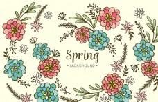 手绘春天花卉插图