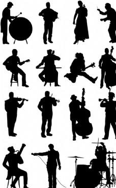 15款创意音乐家剪影矢量素材