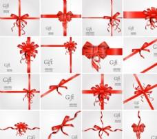 16款红色丝带蝴蝶结装饰礼物卡