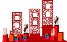 红色展示台设计造型