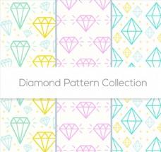 彩色钻石无缝背景矢量素材