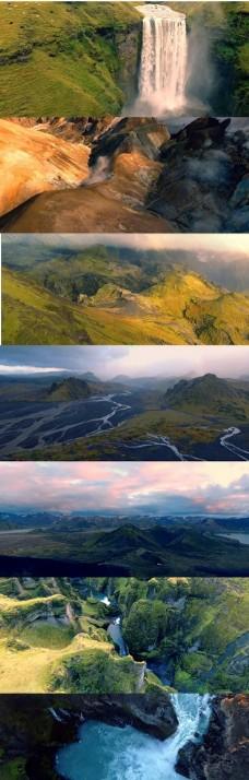 4K实拍风景高山河流瀑布荒野