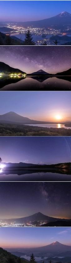 高清实拍富士山夜景美丽景色