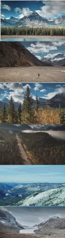 4K航拍自然风光雪山荒野河流