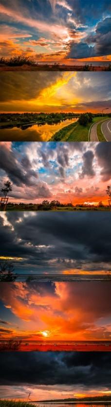 延时摄影美丽自然云层夕阳实拍