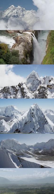高清实拍喜马拉雅山雪山风景