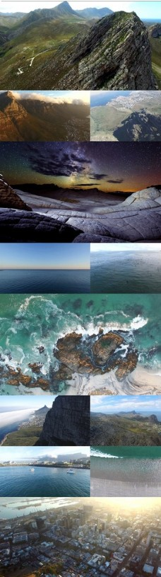 超清航拍高山城市大海自然风光