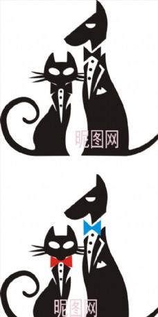 猫狗单色黑白矢量图雕刻图