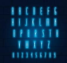 26个蓝色霓虹灯字母