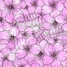 紫色水彩花朵無縫背景矢量素材