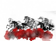 水墨风云群奔马