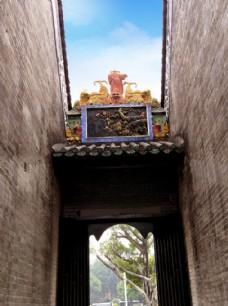 岭南青砖高墙大宅院特写