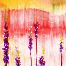 扎染底纹紫色油画花卉