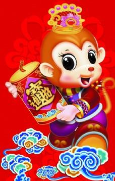 猴年祥云门柱新年猴子