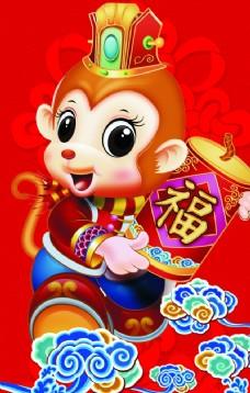 2016猴年祥云门柱新年猴