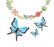 淡彩蝴蝶边框