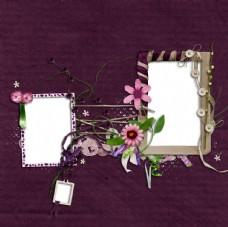 紫色背景下的花朵相框背景