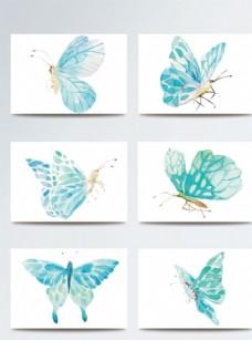 淡蓝色水彩风蝴蝶素材