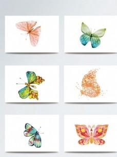 彩色平面蝴蝶矢量手绘素材