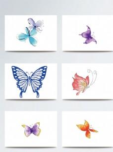 彩色水彩风蝴蝶矢量素材