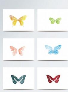 彩色平面蝴蝶图案素材