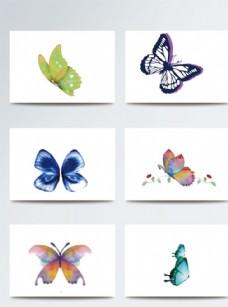 唯美手绘水彩蝴蝶素材