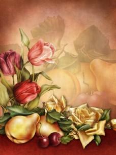 油画鲜花水果静物