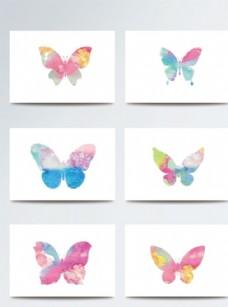 彩色柔美水彩风蝴蝶素材