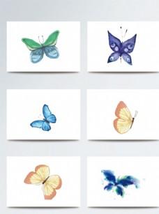 彩色时尚蝴蝶插画素材