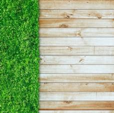 木板与草地背景