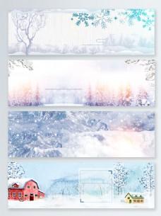 冬装雪天电商banner背景