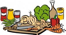 卡通厨房炊具蔬菜调料png元素
