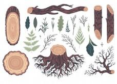 手绘树桩木头png元素